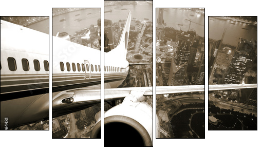 the airplane take off from the city night. - Five-piece canvas, Pentaptych